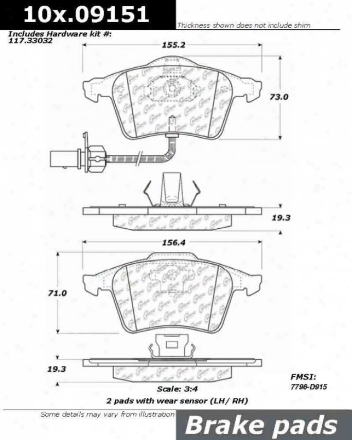 Centric Parts 105.09151 Bmw Ceramic Brake Pads