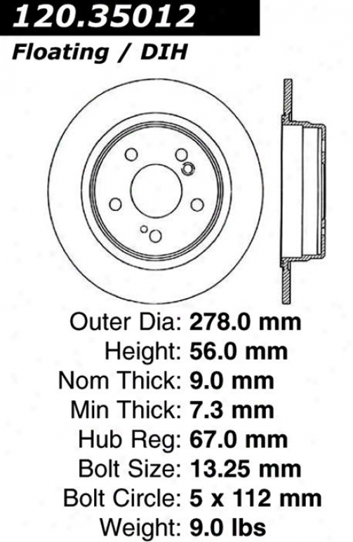 Centric Parts 120.35012 Mercedes-benz Disc Brake Rotor Hub