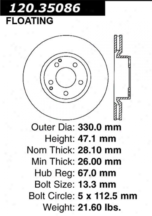 Centric Parts 120.35086 Mercedes-benz Disc Brake Rotor Hub