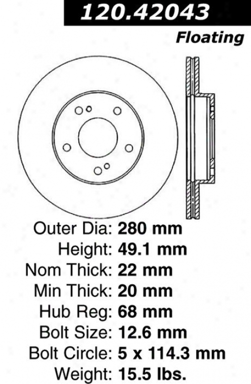 Centric Parst 120.42043 Nissan/datsun Disc Thicket Rotor Hub