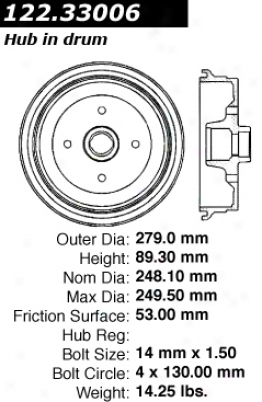 Centric Parts 122.33006 Volkswage nBrake Drums