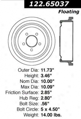 Centric Parts 122.65037 Ford Quarters