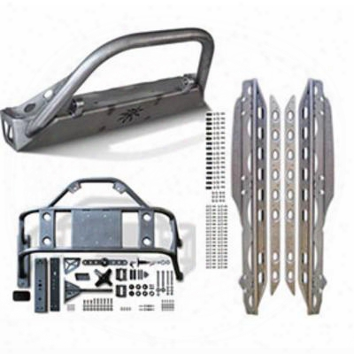 Genuine Packages Poison Spyder Bfh Front Bumper, Body Mounted Tire Carrier And Rocker Knockers (bare) - Jkspecial08