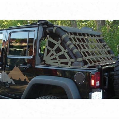 Dirtydog 4x4 Rear Upper Cargo Netting With Spider Sides, Olive Drab - D/dj4nnn07rsod