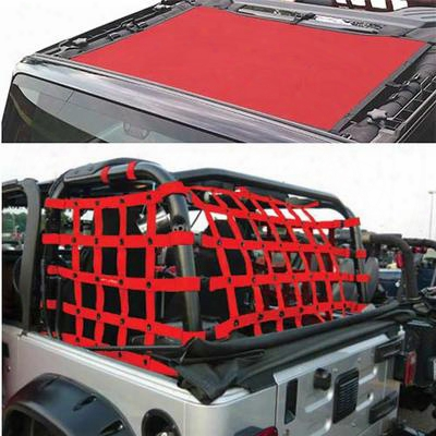 Dirtydog 4x4 Sun Screen With Rear Cargo Net - J4ns07rcrd