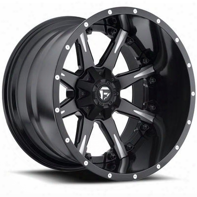 Mht Fuel Offroad D251 Nutz, 20x10 Wheel With 8 On 180 Bolt Pattern - Black And Machined With Dark Tint Clearcoat - D25120001847