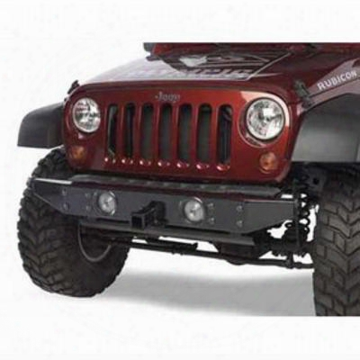 Olympic 4x4 Products Front Rock Bumper With Receiver In Gloss Black (black) - 533-171
