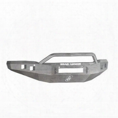 Road Armor Front Stealth Non-winch Illuminator Bumper Pre-runner Square Light Port In Raw Steel (bare) - 214r4z-nw