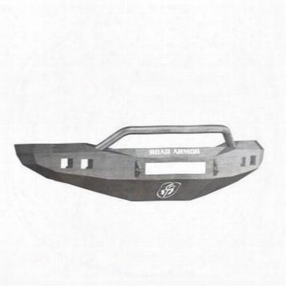 Road Armor Front Stealth Non-winch Illuminator Bumper Pre-runner Square Light Port In Raw Steel (bare) - 407r4z-nw