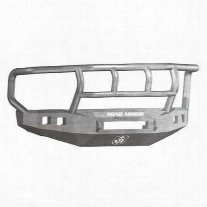 Road Armor Front Stealth Non-winch Illuminator Bumper Titan Ii Square Light Port In Raw Steel (bare) - 608r2z-nw