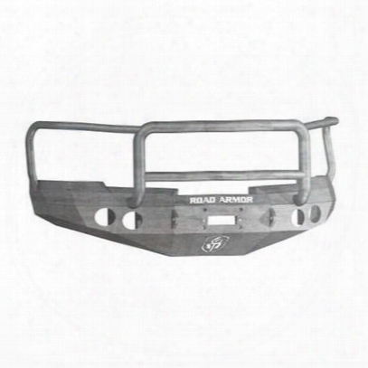 Road Armor Front Stealth Winch Bumper Lonestar Round Light Port In Raw Steel (bare) - 37705z