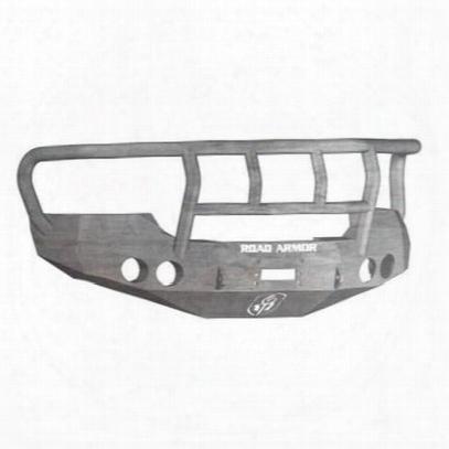 Road Armor Front Stealth Winch Bumper Titan Ii Round Light Port In Raw Steel (bare) - 37402z