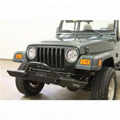 Rock Hard 4x4 Parts Front Winch Mount Bumper With Angled Forward Hoop (black) - Rh4001-c