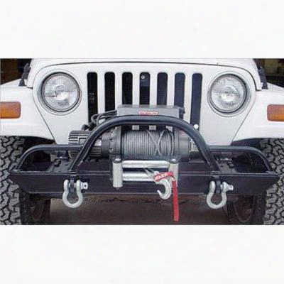 Rock Hard 4x4 Parts Front Winch Mount Bumper With Straight Up Hoop With Extensions (black) - Rh4005-cx