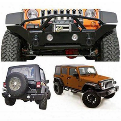 Rampage Front And Rear Bumpers With Fender Flares Package (textured) - 0716bumtpkg