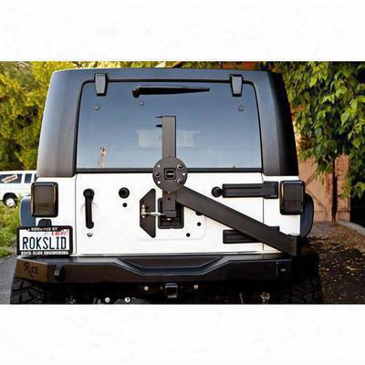 Rock-slide Engineering Rear Bumper With Tire Carrier (black) - Rb-f-100-jka