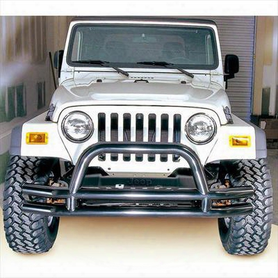Rugged Ridge 3 Inch Dual Tube Front Bumper With Center Hoop (black) - 11560.01