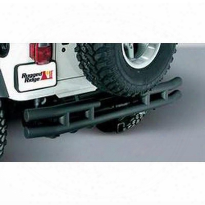 Rugged Ridge 3 Inch Dual Tube Rear Bumper With Hitch (black) - 11571.04