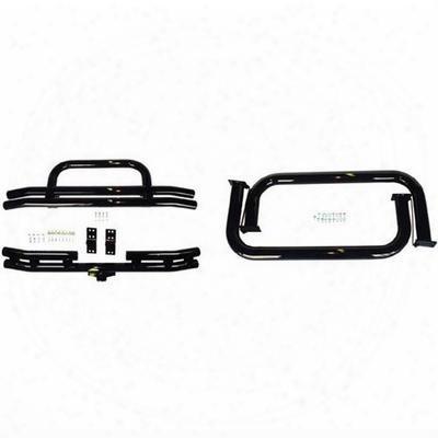 Rugged Ridge 3 Inch Tubular Bumpers And Side Step Kit (gloss Black) - 11501.04