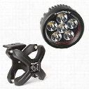 Rugged Ridge Round LED Light and X-Clamp Kit (Black) - 15210.93