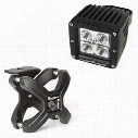 Rugged Ridge Square LED Light and X Clamp Kit (Black) - 15210.9