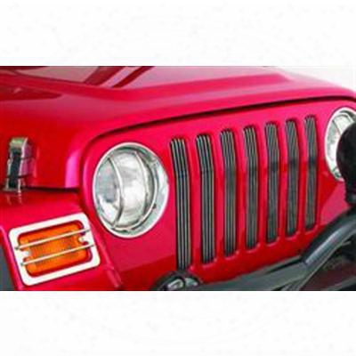 Smittybilt Billet Aluminum Grille Inserts For Jeep Jk Wrangler (silver Powdercoat) - 878132
