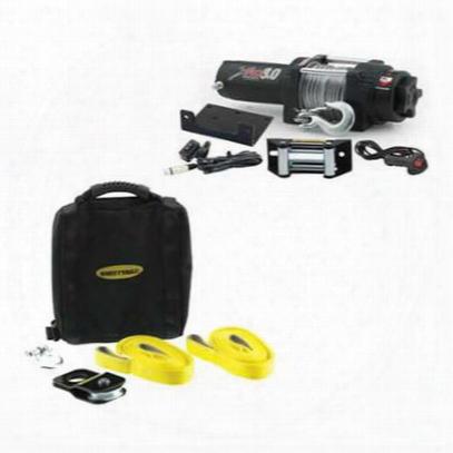 Smittybilt Xrc3.0, 3,000 Lb Compact Winch & Atv Winch Accessory Kit Special - Atvbag1
