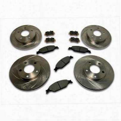 Stainless Steel Brakes Rotor Kit - Short Stop - Turbo Slotted Rotor & Pad Kit - A2370043