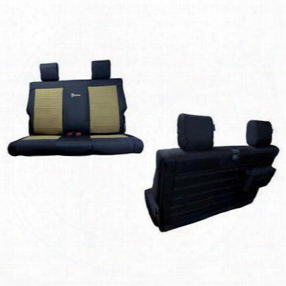 Bartact Rear Bench Seat Cover (black/khaki) - Tjsc0306rbbk