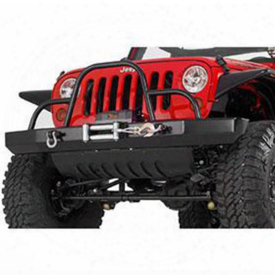 Warrior Rock Crawler Front Bumper With Brush Guard, D-ring Mounts And Winch Mount (black) - 59056