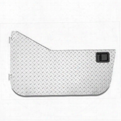 Warrior Aluminum Diamond Plate Half Doors With Rotary Style Paddle Latch (silver) - 907door