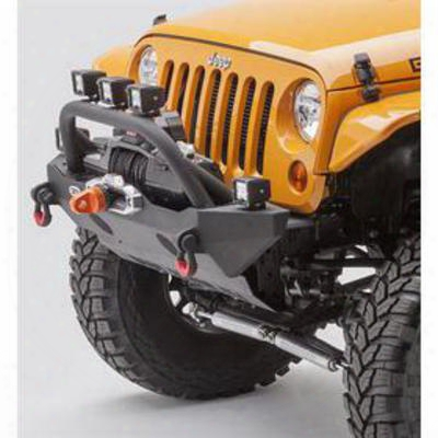 Body Armor Jk Wrangler Stubby Front Winch Bumper With Grill Guard In Textured Black Powdercoat (textured) - Jk-19532