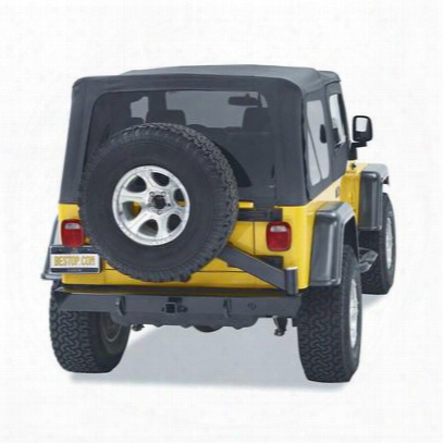 Bestop Highrock 4x4 Rear 2 Inch Receiver Hitch Bumper With Swing Out Tire Carrier In Matte Black (black) - 44931-01