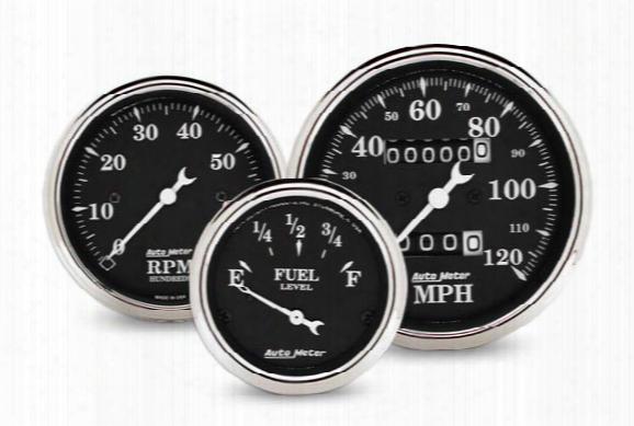 Autometer Street Rod Old Tyme Black Gauges, Autometer - Automotive Gauges - Gauges