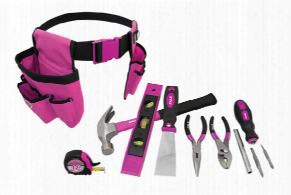 Pink Box 8 Piece Tool Set & Tool Belt