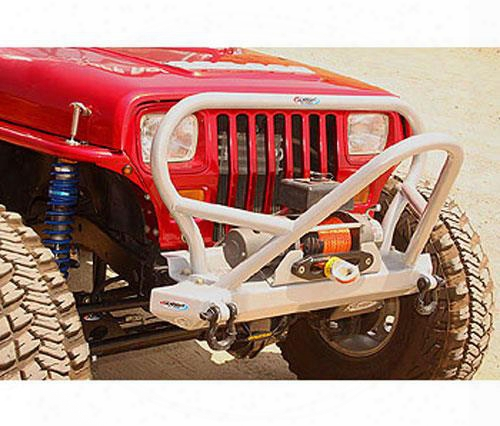 1995 Jeep Wrangler (yj) Genright Front Winch Mount Bumper With Boulder Stinger In Bare Steel