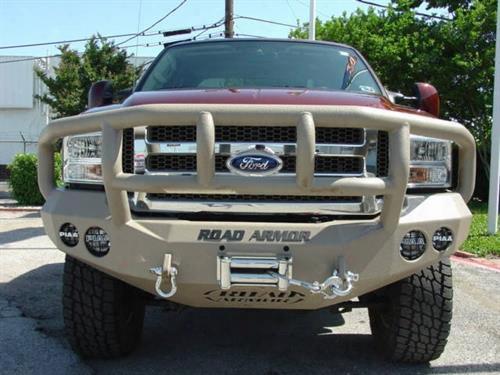2005 Ford F-350 Super Duty Road Armor Front Stealth Winch Bumper Titan Ii Square Light Port In Satin Black