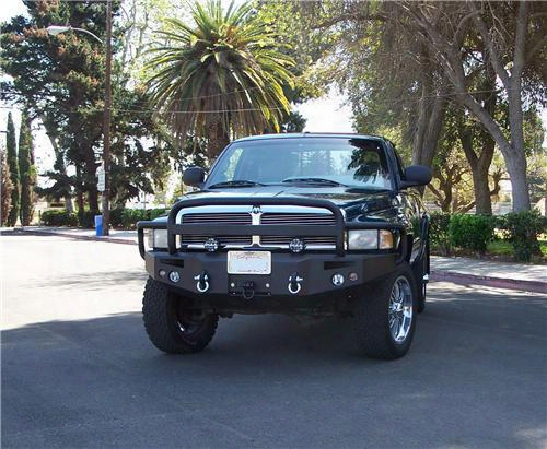 1995 Dodge Ram 2500 Fab Fours Grill Guard Heavy Duty Winch Bumper In Black Powder Coat With Lights And D-ring Mounts