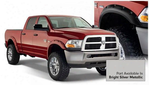 2010 Dodge Ram 3500 Bushwacker Dodge Ram Max Coverage Fender Flare Set In Bright Silver Metallic