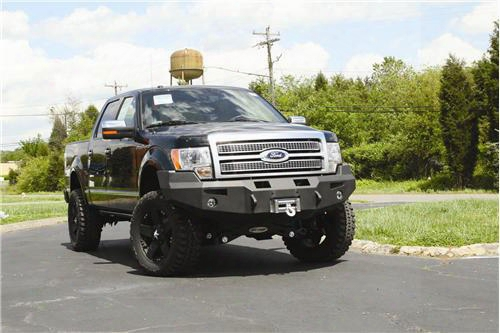 2010 Ford F-150 Fab Fours Heavy Duty Winch Bumper In Black Powder Coat With Lights And D-ring Mounts