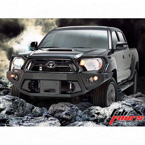 2012 Toyota Tacoma Fab Fours Grill Guard Heavy Duty Winch Bumper In Black Powder Coat With Lights And D-ring Mounts