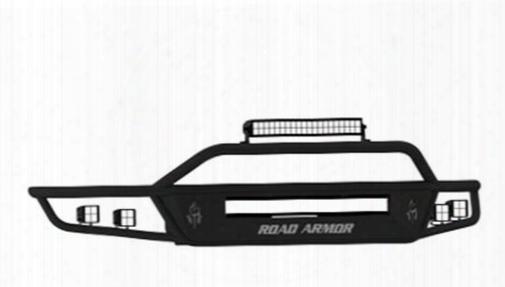 2013 Ford F-150 Road Armor Front Sahara Non-winch Illuminator Bumper Square Light Port In Satin Black
