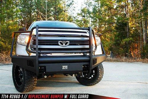2014 Toyota Tundra Fab Fours Elite Front Bumper With Full Guard In Black Powder Coat