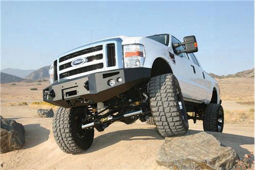 2008 Ford F-550 Super Duty Fab Fours Heavy Duty Winch Bumper In Bare Steel With Lights And D-ring Mounts