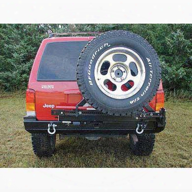 1998 Jeep Cherokee (xj) Rock Hard 4x4 Parts Rear Bumper With Tire Carrier Includes 2 Inch Receiver And D-ring Mounts