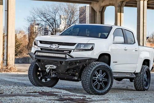 2015 Chevrolet Colorado Addictive Desert Designs Honeybadger Front Bumper With Winch Mount