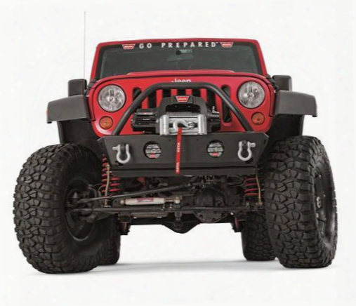 2010 Jeep Wrangler (jk) Warn Rock Crawler Stubby With Grille Guard, Light And D-ring Mounts