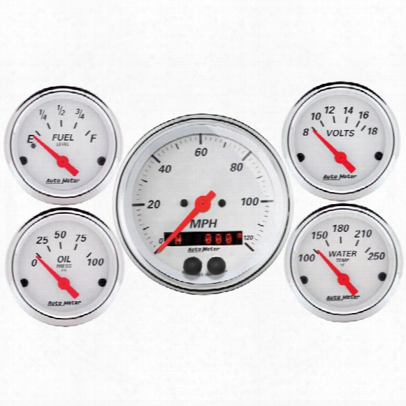 Auto Meter Auto Meter Arctic White 5 Gauge Set Fuel/oil/speedo/volt/water - 1350 1350 Gauges