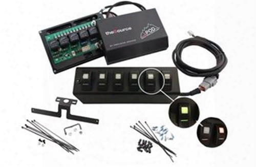 Spod 2007 - 2008 Jk Wrangler 6 Switch Spod & Source System With Red Switches 600-07lt-ledr Switch Pods