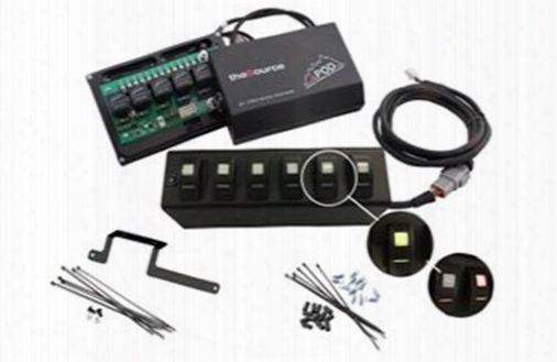Spod 2009 - 2017 Jk Model 6 Switch System & Source System With Green Switches 600-0915lt-ledg Switch Pods